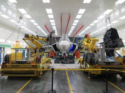 Aerobotix F-35 Mobile MIP robot system at Lockheed Martin Aerospace in Fort Worth Texas