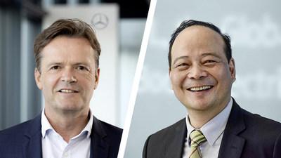 Izquierda: Markus Schäfer, miembro del consejo de administración de Daimler AG y Mercedes-Benz AG; derecha: Dr. Robin Zeng, fundador, presidente de la junta directiva y CEO de CATL