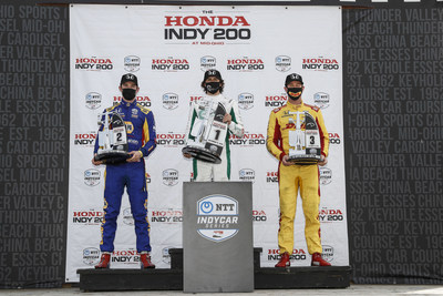 Honda drivers and teams – led by the Andretti Autosport trio of Colton Herta (center}, Alexander Rossi (left) and Ryan Hunter-Reay – dominated the second half of the Honda Indy 200 doubleheader at the Mid-Ohio Sports Car Course, sweeping the top five finishing positions in Sunday's second 75-lap NTT INDYCAR SERIES race of the weekend.