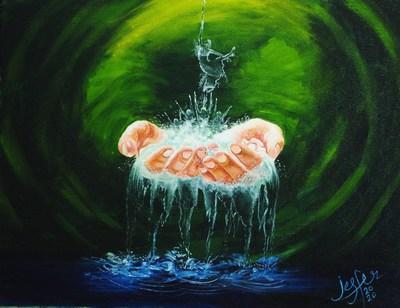 Art interpretation of #NoHandUnwashed by Mouth Artist Jesfer Pulikkathody of MFPA, India