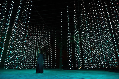 """""""Squidsoup"""" Submergence, 2013-2021 Electronics, LEDs, computers, support structure 768 x 1033 x 447 cm Courtesy the artists and Light Art Collection Photo © Riyadh Art 2021"""