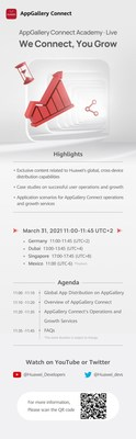 Agenda of AppGallery Connect Academy·Live on March 31st