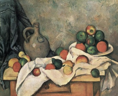 Paul Cézanne, Curtain, jug and fruit bowl (c.1893-1894), Oil on canvas. 59.5 x 73 cm