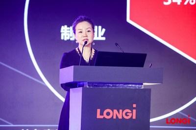 Niu Yanyan, jefa del Departamento de Gestión de Generación Distribuida de LONGi Solar (PRNewsfoto/LONGi Solar)