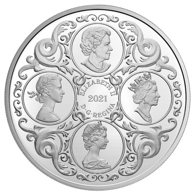 The Royal Canadian Mint's silver collector coin celebrating the Queen's 95th birthday (Obverse)