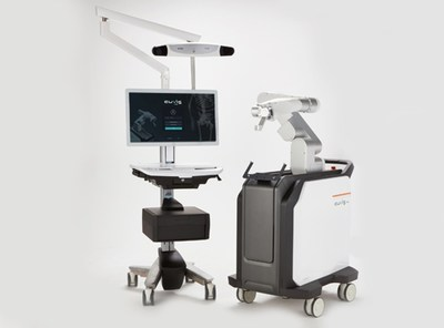 The spinal surgery robot 'CUVIS-spine'(Left - Main Console, Right - Robotic Arm)