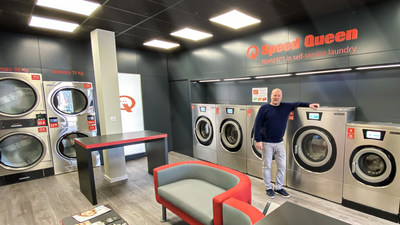 Stéphane Charles in his Speed Queen laundry, the 800th store opened in Europe.