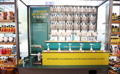 The new refill stations in The Body Shop, rolling out globally across 500 stores in 2021 and a further 300 stores in 2022.